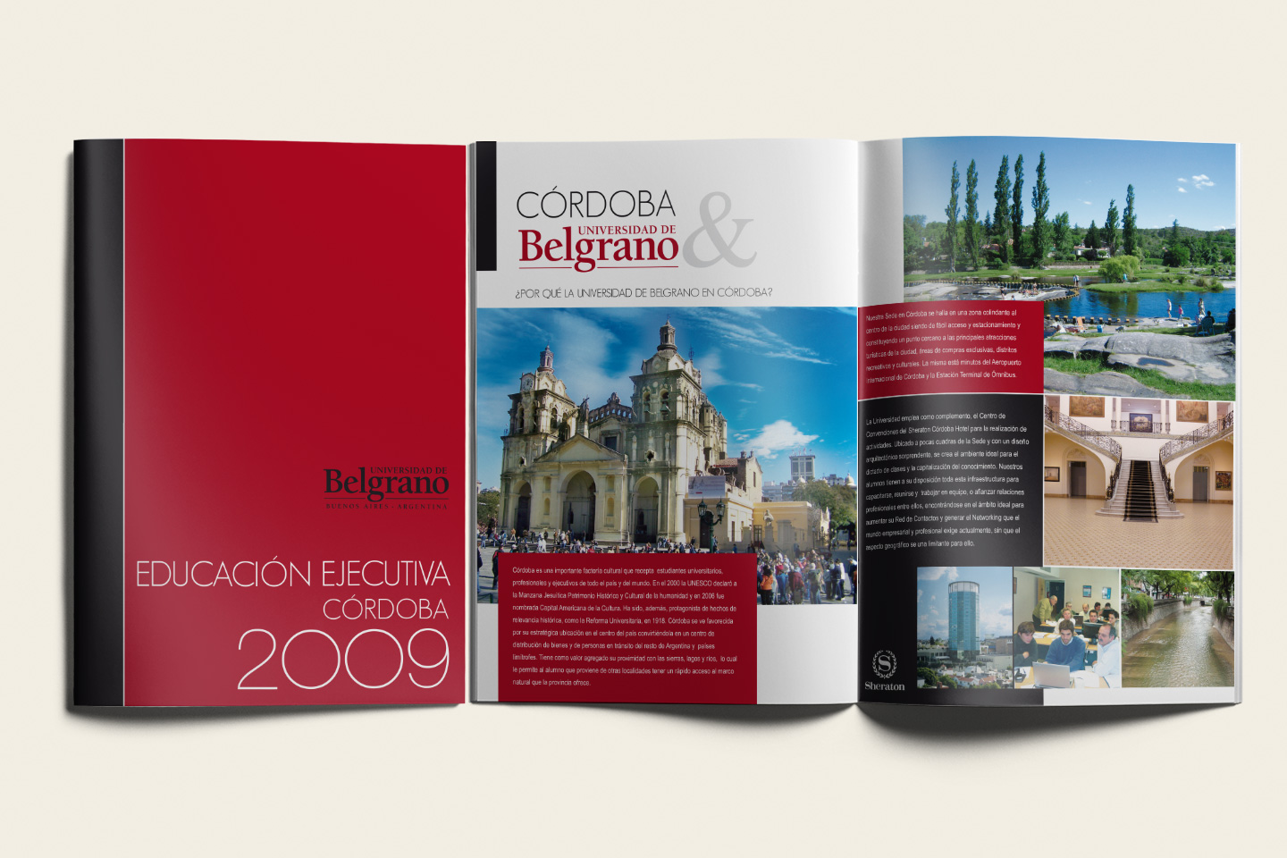 Grafica copertina rossa e interno brochure per università.