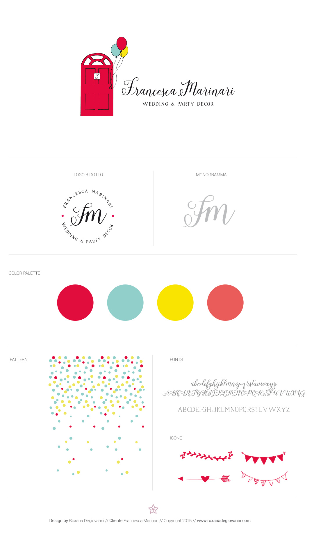 Wedding & Party decor, brand identity, brand style guide.